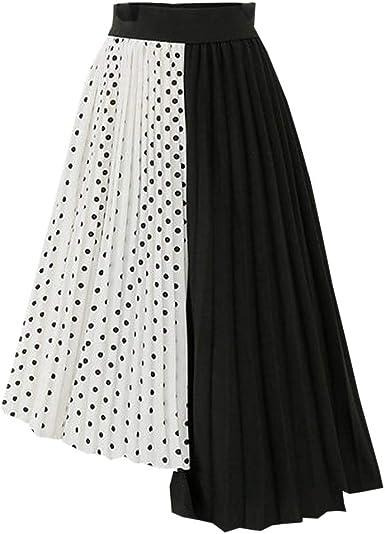 Sylar Falda Midi Verano Faldas Desigual Estampado Lunares De Mujer ...