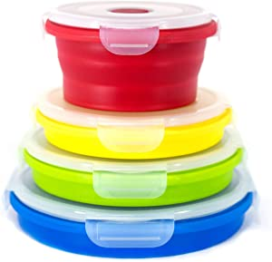 STOGO Collapsible Food Storage Containers- Set of 4 Leak Proof with Airtight Plastic BPA-Free Lids, for Kitchen Storage, Lunch Boxes, Meal Prep (1 Set Round)