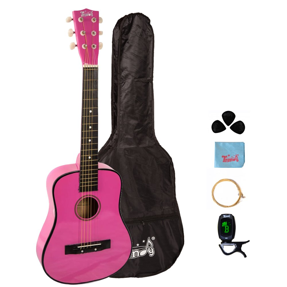 Trendy 30 Inch 1/2 Half Size Children Beginner Steel String Acoustic Guitar Package, Basswood, Pink