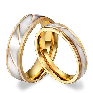 Hijones Edelstahl Schmuck 6mm 4mm Gold Und Silber Ring Fur Herren
