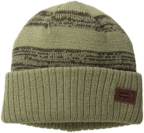 UPC 017149732518, Levi's Men's Double Knit Striped Mareled Beanie with Solid Cuff and Logo Patch, Olive, One Size