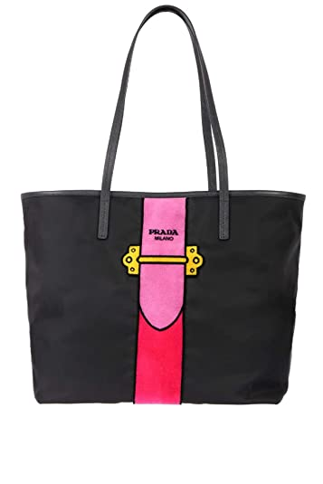 Prada Tessuto Shopping Shoulder Bag Black Womens Tote Ricamo 8nvNwOm0