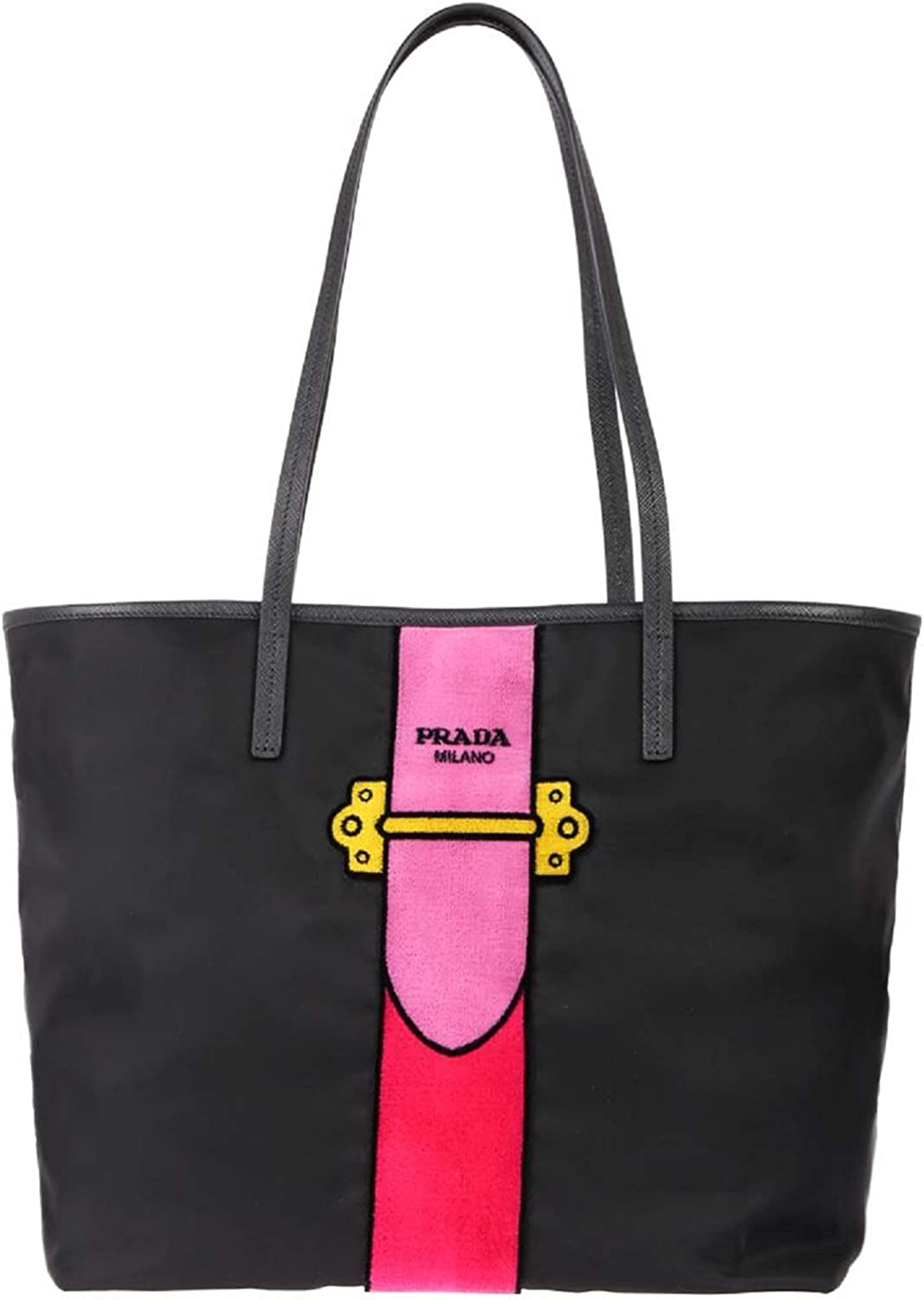 Prada Womens Black Tessuto Ricamo Shopping Tote Shoulder Bag Messenger Bag with Pink Velvet Accent Line Leather Trim 1BG065