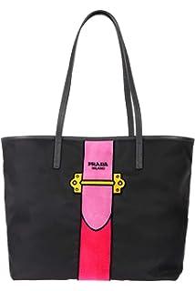 1a16a397d00432 Prada Womens Black Tessuto Ricamo Shopping Tote Shoulder Bag Messenger Bag  with Pink Velvet Accent Line