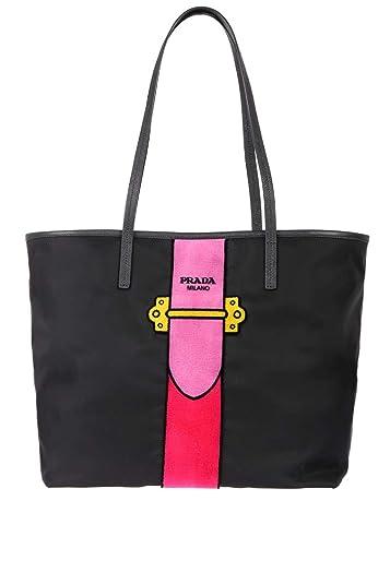 d3de94c1d8633c Prada Womens Black Tessuto Ricamo Shopping Tote Shoulder Bag Messenger Bag  with Pink Velvet Accent Line