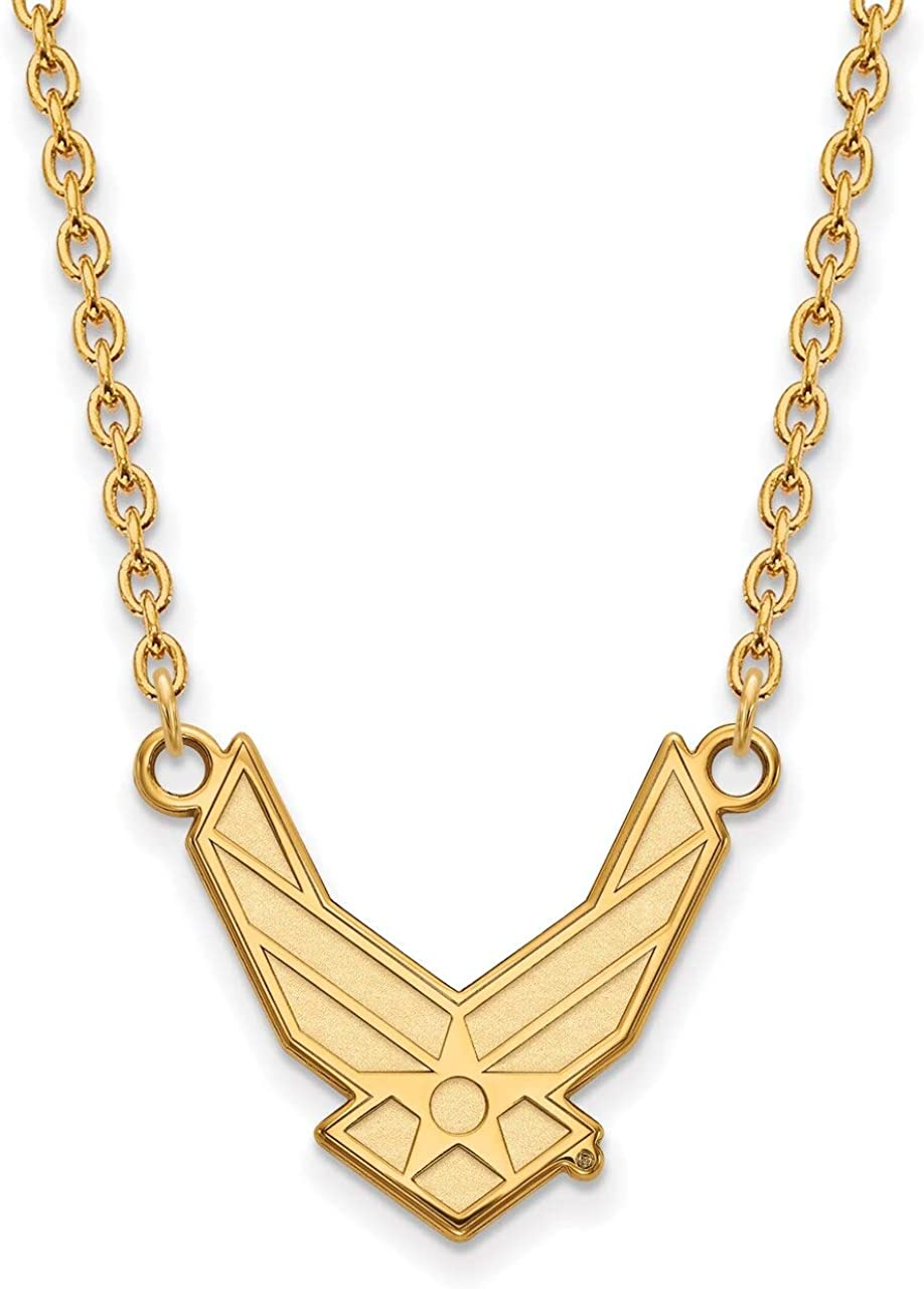 Air Force Academy Large Pendant w//Necklace LAL157604 Lex /& Lu LogoArt Gold Plated Sterling Silver U.S
