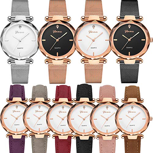 Yunanwa 10 Pack Wholesale Women's Watches Classic Business Rose Stainless Steel Rhinestone Inlaid WristWatches Geneva relogio Feminino (6pcs Leather+4pcs mesh Brand) ()