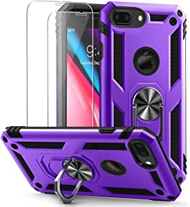 Vooii for iPhone 8 Plus Case, iPhone 7 Plus Case, [2 Pack Tempered Glass Screen Protector], Military-Grade Shockproof Phone Case with Car Mount Kickstand for iPhone 7 Plus /8 Plus-Purple