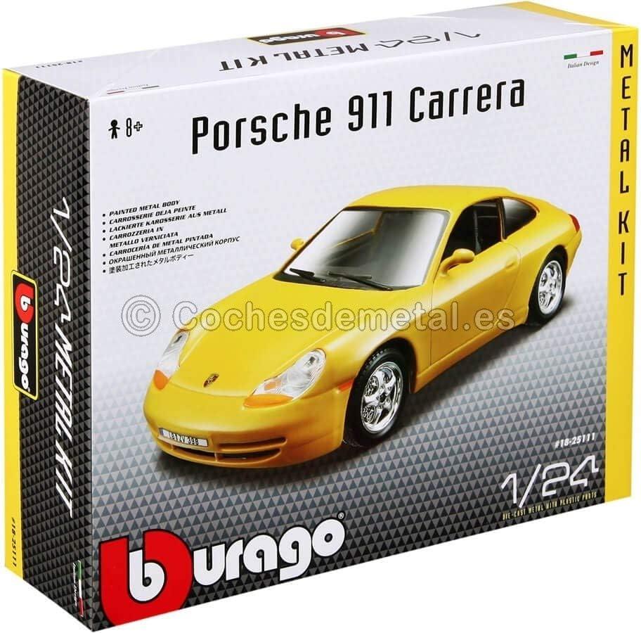 Bburago- Kit 1:24 Porsche 911 Carrera, Amarillo (18-25111)