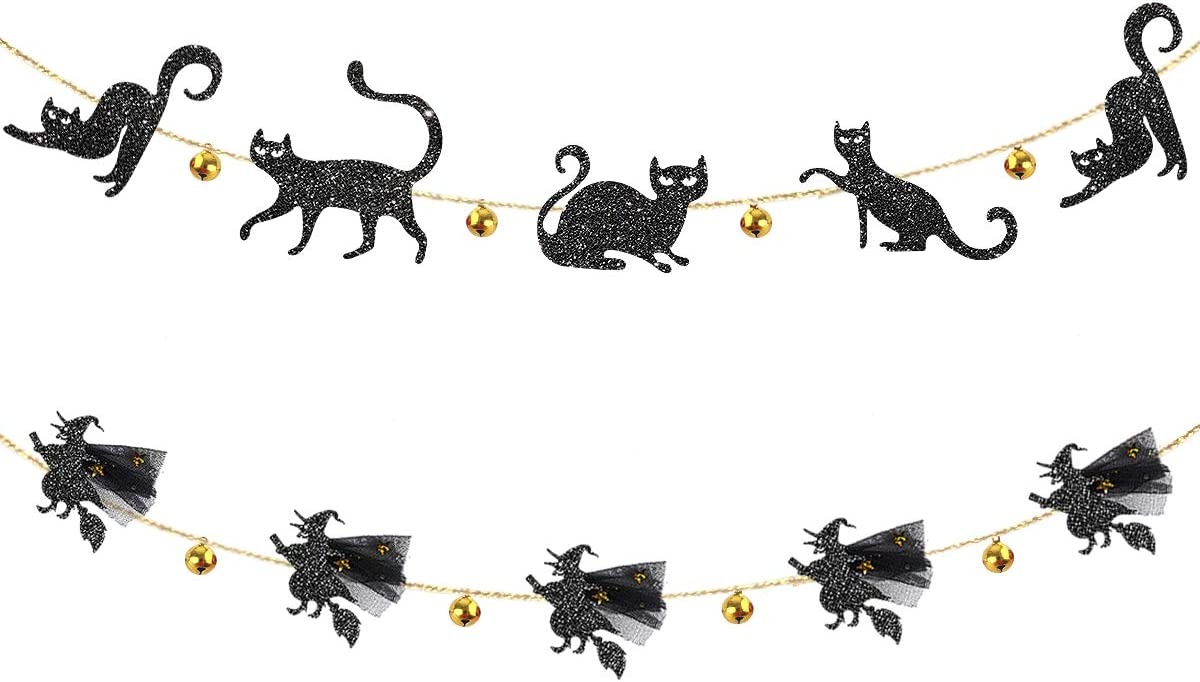 pinkblume Halloween Party Decorations Kit Jingle Bell Black Cat Banner and 3D Flying Witches Garland for Happy Halloween Theme Cat Party Birthday Bachelorette All Hallows Eve Party Decor Supplies