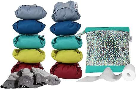 Close Pop-in Pañales Lavables de Tela- 10 Pcs Pañales Lavables de Viscosa de Bambú para Bebé, Pañales Ajustable y Reutilizable para Bebés con Bolsas de Almacenamiento,colores vivo,antiescapes: Amazon.es: Salud y cuidado personal