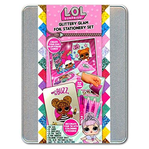 LOL Glitter Foil Stationary Set With Cards, Envelpops, Foil Sheets, Stickers & More
