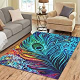 ADEDIY Personalized Rug Abstract Art Colorful Peacock Feathers Area Rug 7'x5′ Floor Rug for Living Room Bedroom For Sale