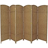Rose Home Fashion RHF 6 ft. Tall-Extra Wide-Diamond Weave Fiber Room Divider - Natural - 6 Panel