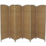 RHF 6 ft. Tall-Extra Wide-Diamond Weave Fiber Room Divider - Natural - 6 Panel