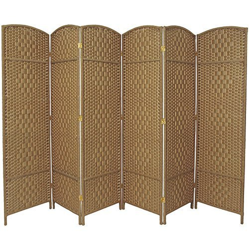 RHF 6 ft. Tall-Extra Wide-Diamond Weave Fiber Room Divider,Double Hinged,6 Panel Room Divider/Screen, Room Dividers and Folding Privacy Screens 6 Panel, Freestanding Room Dividers-Natural, 6 Panel (Outside Ideas Inexpensive Patio)