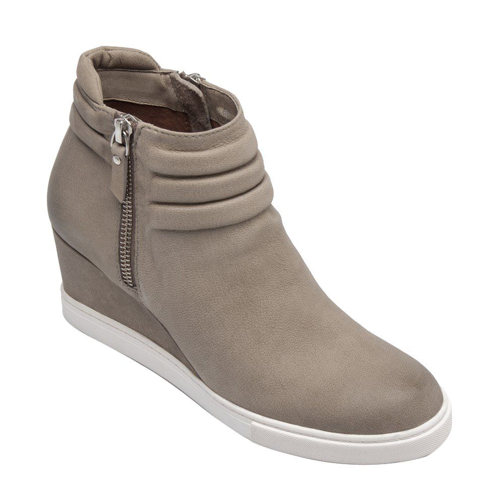Frieda | Women's Platform Wedge Bootie Sneaker Leather or Suede B075TKFC4X 10 M US|Dark Grey Leather