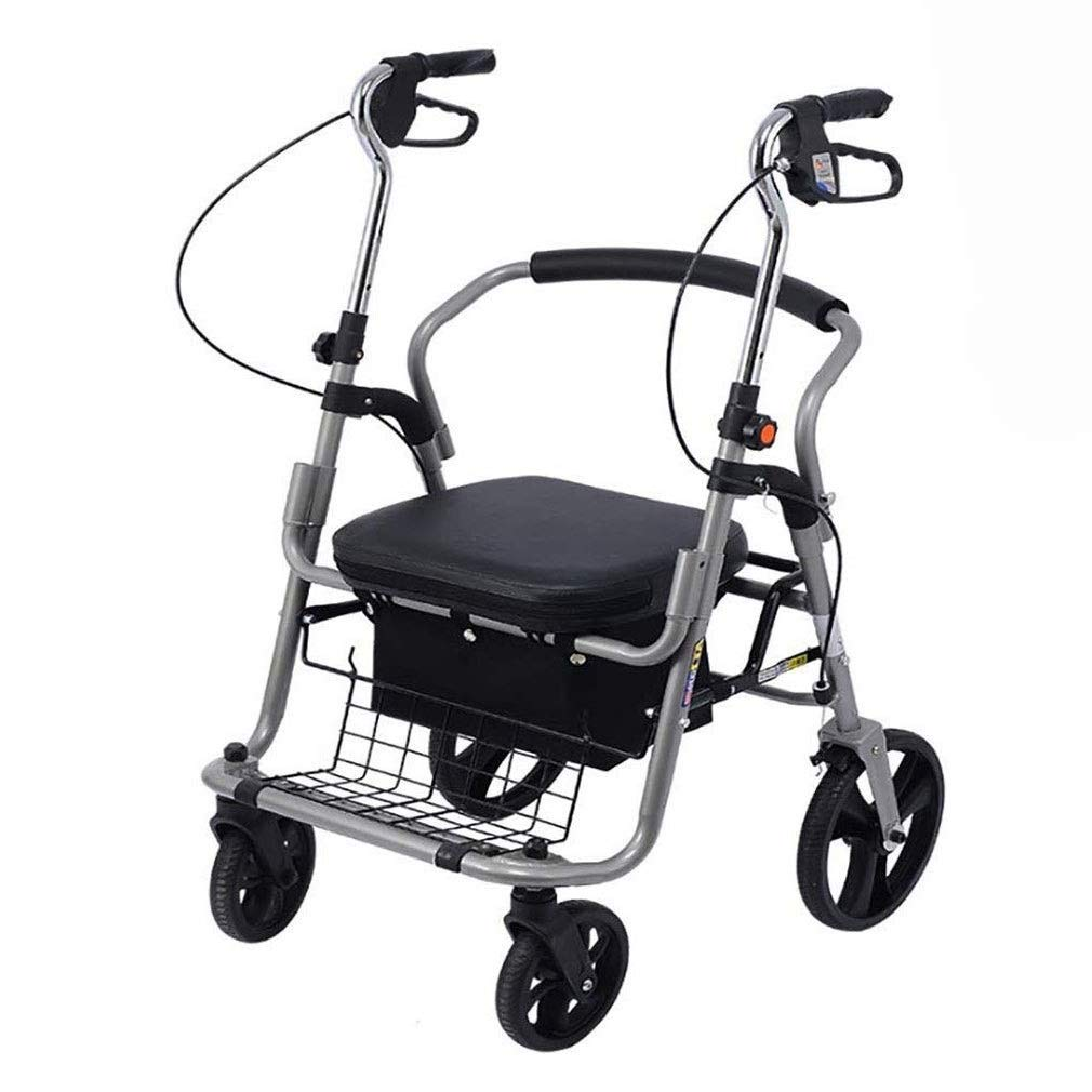 2 in 1 Rollator-Transport Chair,Adjustable Handle Height with Upholstered Seat and Lower Basket Double Safety Brake Auxiliary Walking Safety Walker (Color : Black B)