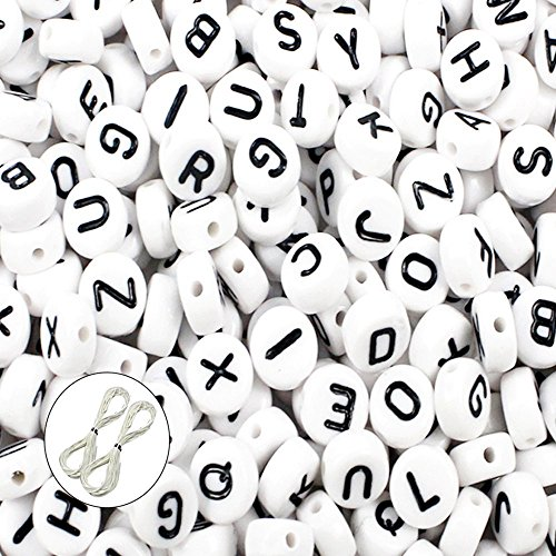 JPSOR 600pcs 4x7mm Acrylic White Round Letter Beads for Bracelets and Jewelry Making,with Thread & Pouch -