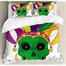 Mardi Gras King Size Duvet Cover Set by Ambesonne, Scary Looking Green Skull Mask with Carnival Hat Beads and Earring Cartoon Style, Decorative 3 Piece Bedding Set with 2 Pillow Shams, Multicolor