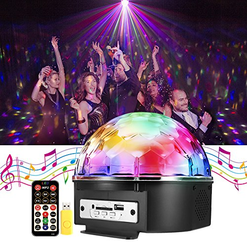 Disco Ball Party Lights - SOLMORE 9 Color LED Stage DJ Lights Rotating Crystal Magic Disco lights Sound Activated Strobe Light MP3 Play for Home Wedding Party KTV Club Show AC 240V(with Remote)