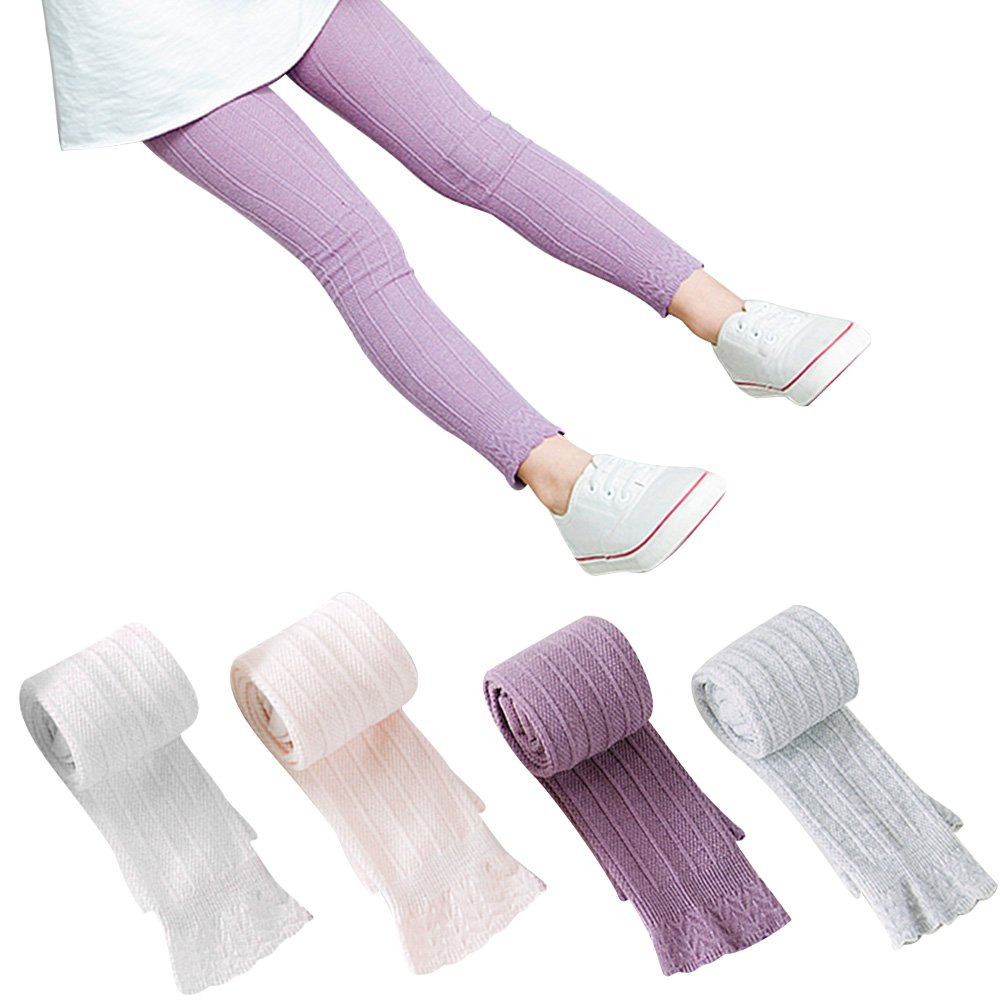BOOPH 4 Pack Girl's Legging Tight Baby Toddler Flared Lace Trim Bootcut Footless Knitted Stockings Pant Sock for Girls 5-8 Year