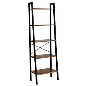 VASAGLE Industrial Ladder Shelf, 5-Tier Bookshelf, Bookcase and Storage Rack Wood Look Accent Furniture with Metal Frame for Home Office ULLS45X, Rustic Brown
