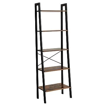 Amazon.com: SONGMICS Vintage Ladder Shelf, 5-Tier Bookcase, Plant ...