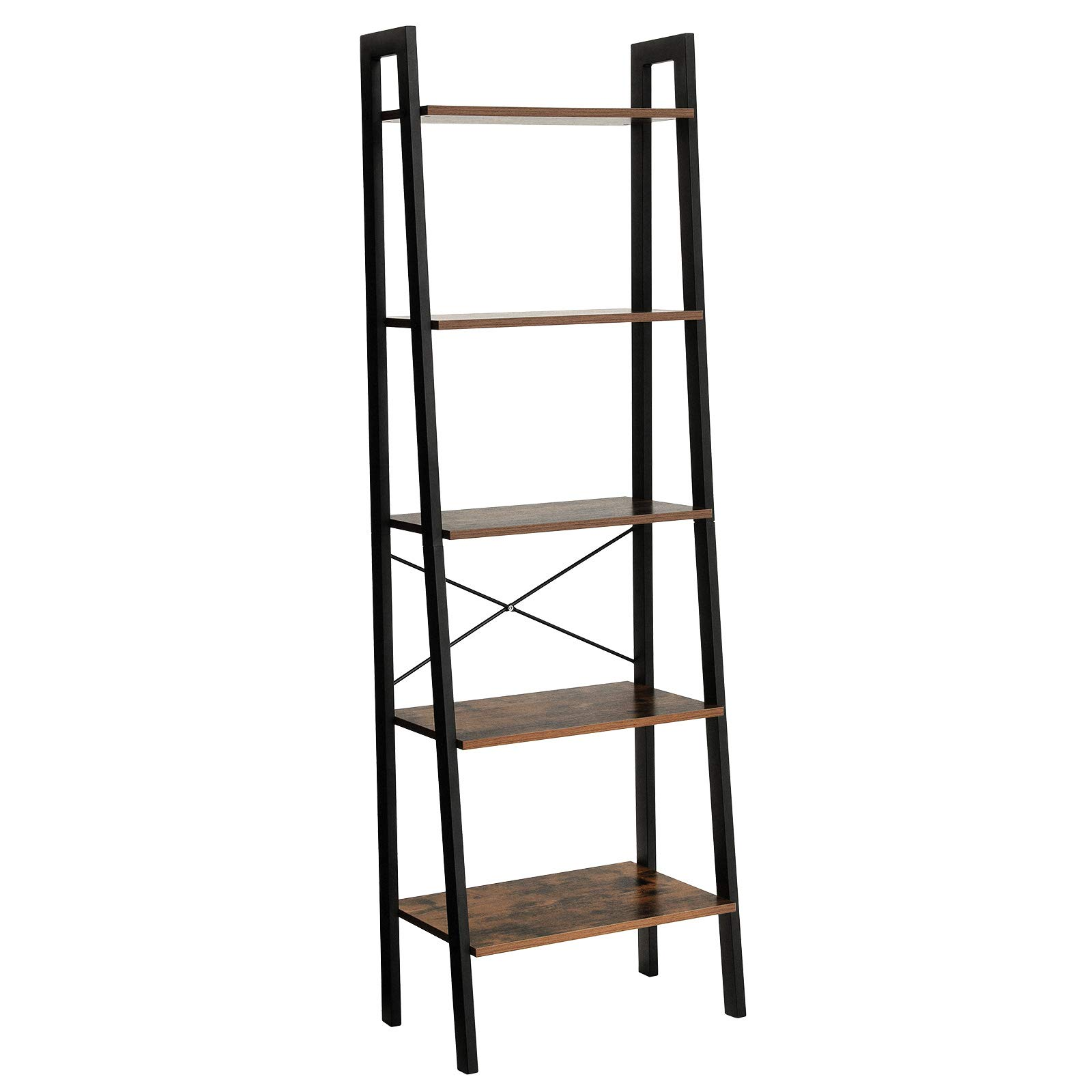 SONGMICS Vintage Ladder Shelf, 5-Tier Bookcase, Plant Stand and Storage Rack Wood Look Accent Furniture with Metal Frame for Home Office ULLS45X