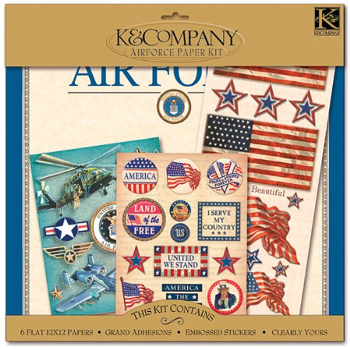K&Company Military 12-Inch-by-12-Inch Scrapbook Kit Layouts, Air
