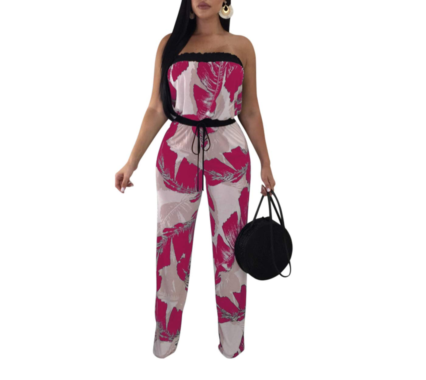 Tiaoqi Women's Casual Sexy Strapless Floral Jumpsuit Sexy Wide Leg Long Pants Rompers with Belt (Rose red, 2XL)