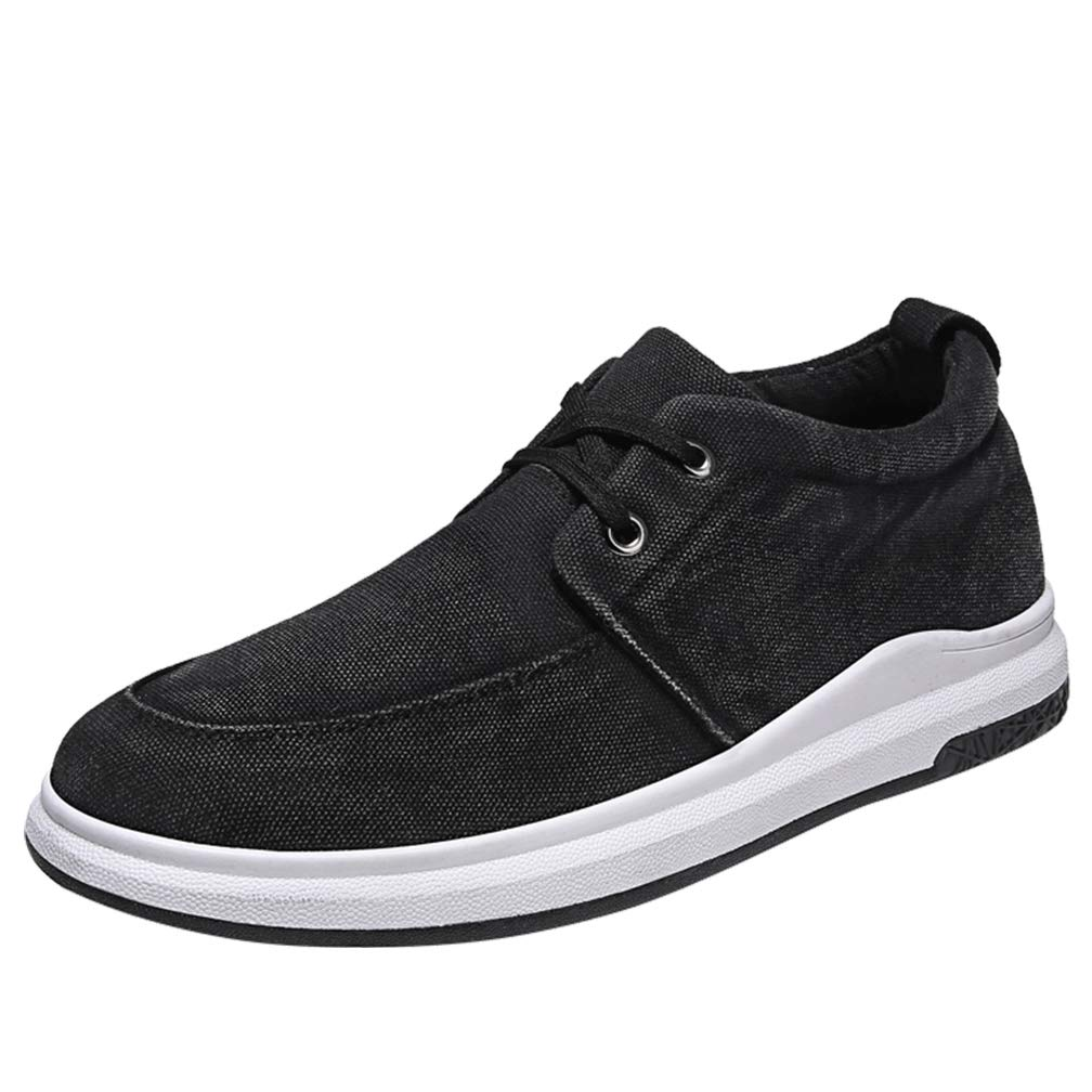 HDWY Breathable Washed Canvas Shoes Men's Retro Casual Shoes Male Students Hundred Ride Lace-Up Canvas Sneakers Men's Shoes,Black,44