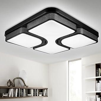 NatsenR LED Deckenlampe Wandlampe Schwarz X8908H 80W Fr Wohnzimmer Lampe Voll Dimmbar Mit Fernbedienung