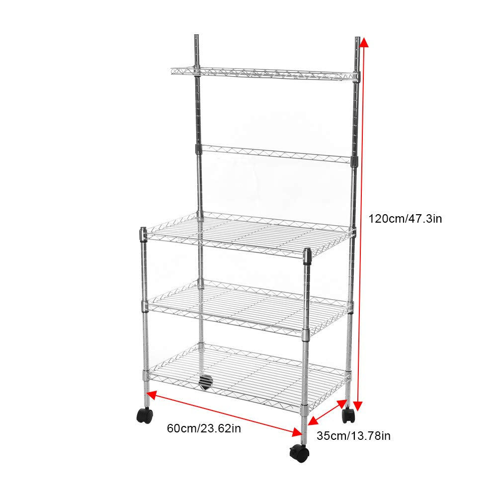 Hisoul Hot  3-Layer Microwave Rack Easy to Move Kitchen Cart Microwave Stand Storage Rack with Four-Wheel Storage Rack with Spice Rack - Silver - 23.62''x13.78''x47.24'' - Shipped from USA (Silver) by Hisoul (Image #4)