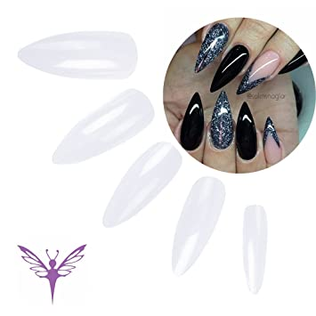 Health & Beauty 50x Pieces Set Stiletto False Nails Full Cover Natural Opaque Acrylic Art Artificial Nail Tips