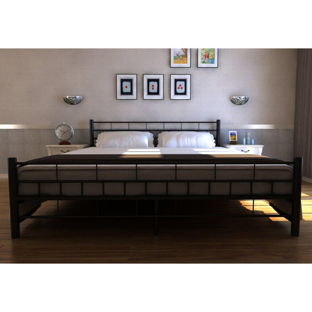 Amazon.de: Bett Bari 140 x 200 cm aus Metall schwarz + Matratze ...