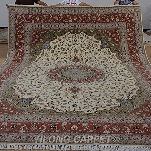 Yilong 10'x14′ Handmade Wool/Silk Rug Traditional Oriental Tabriz Hand Knotted Floral Carpet (10 Feet by 14 Feet, Ivory…