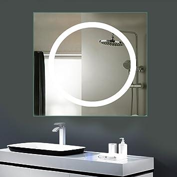 Anten Led Lichtspiegel 80 X 80cm Badspiegel Mit 18w Kaltweiß Rund Beleuchtung Bad Badzimmer Spiegelleuchte Mit Schalter An Der Seite
