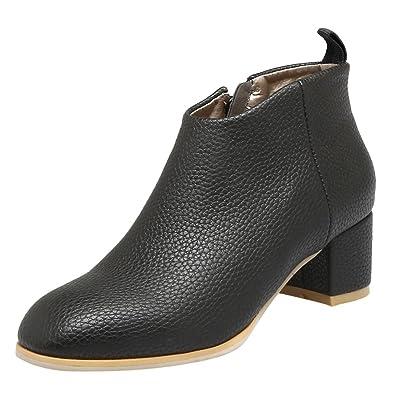 Women's Fashion Zipper Chunky Mid Heel Chelsea Boots