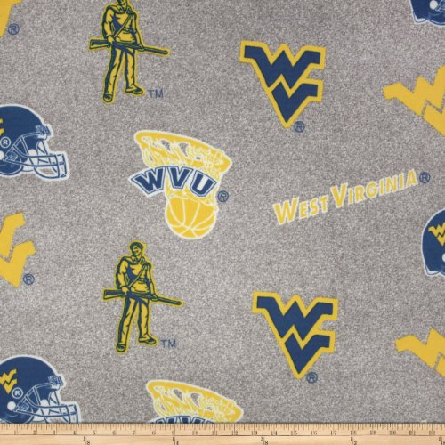 Collegiate Fleece University of West Virginia Heather Grey Fabric By The Yard (Fleece University)