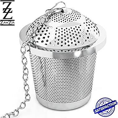 Luxury Tea Infuser & FREE Tea Stick Set by Zamzia - Ideal for Loose Leaf Tea & Travel Mugs – Easy to Clean & Use, Stainless Steel Steeper / Strainer - Make the Perfect Cup of Tea Every Time