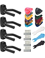 4 Pack Guitar Hanger Hook Holder Wall Mount Display Acoustic Guitar Stand (Black, with 12 pcs guitar picks and 3 pcs staples)