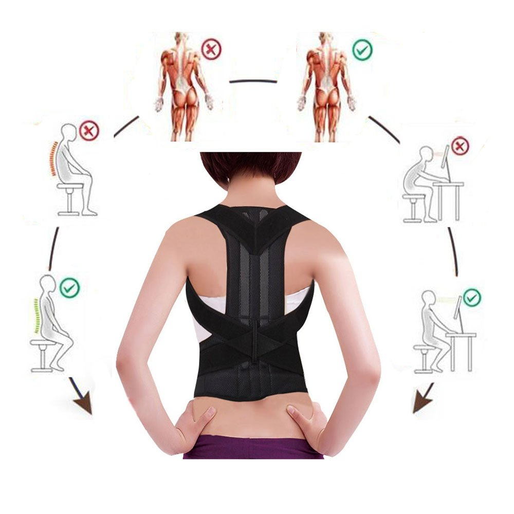 Back Posture Corrector Adjustable Clavicle Brace Comfortable Correct Shoulder Posture Support Strap for Women and Men Improve Posture Correction (M)