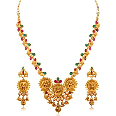 715d13b3f0 Buy Gemsjewellery South Indian Traditional Jewellery Temple Lakshmi Gold  Plated Necklace Set for Women Online at Low Prices in India | Amazon  Jewellery ...
