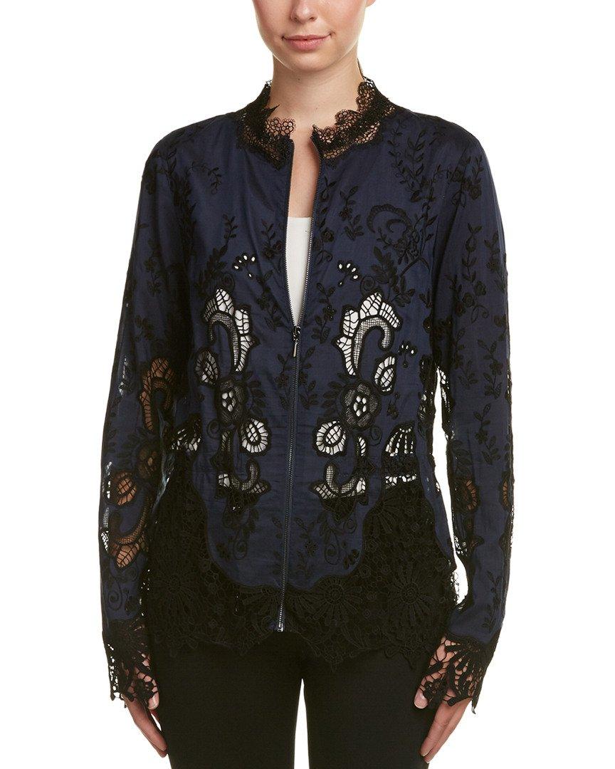 Elie Tahari Womens Silk-Blend Jacket, S, Blue