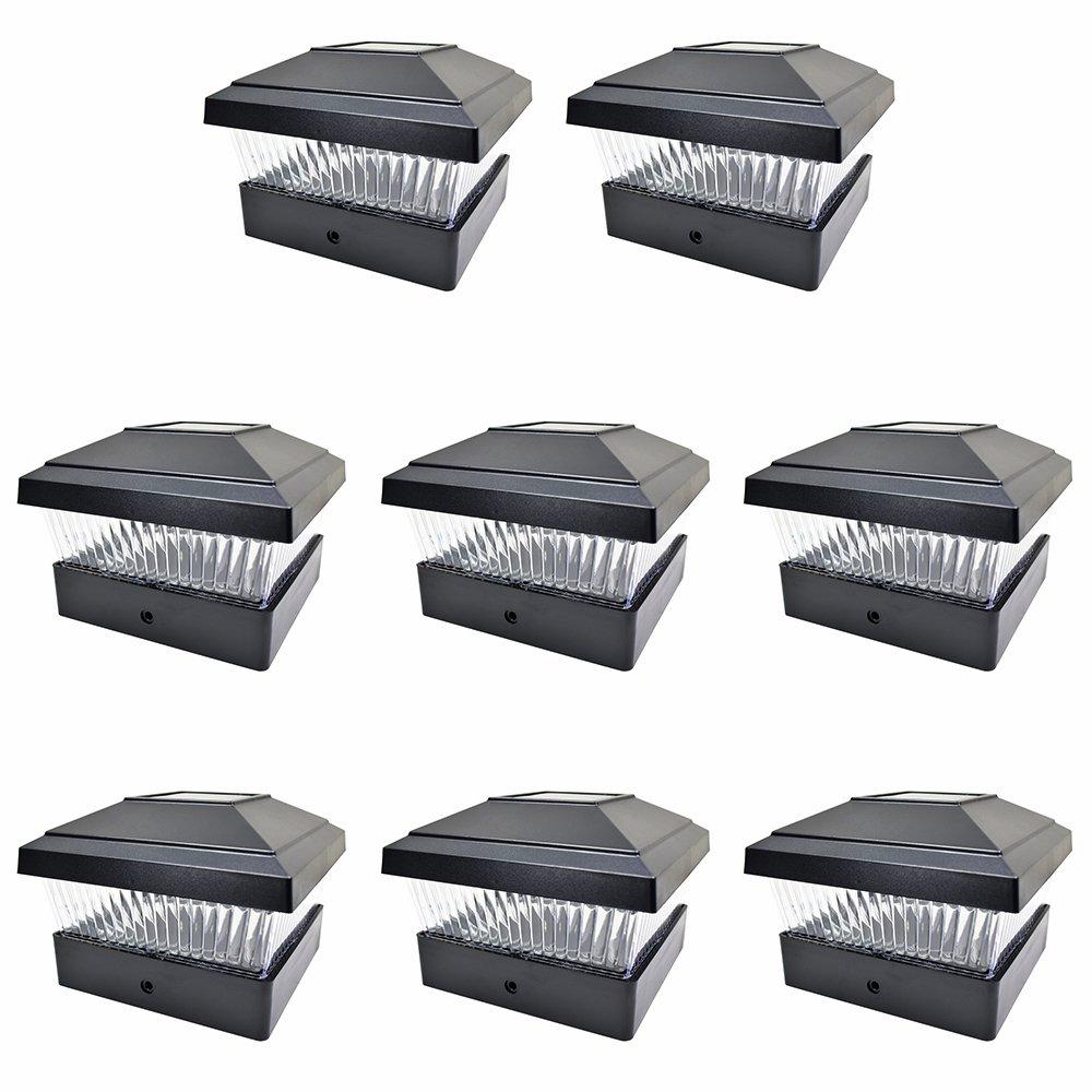 iGlow 8 Pack Black Outdoor Garden 5 x 5 Solar LED Post Deck Cap Square Fence Light Landscape Lamp Lawn PVC Vinyl Wood