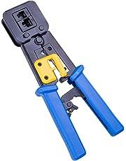 10Gtek for RJ45 Crimp Tool Ethernet Connector Crimper Cutter Crimping Wire Cable Stripper Stripping Blades for RJ45 RJ12 End Pass Through
