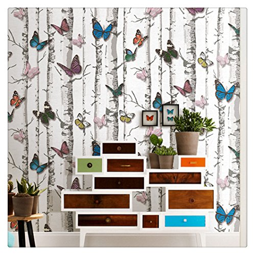 Haokhome 63276 birch tree w butterfly peel stick - Birch tree wallpaper peel and stick ...