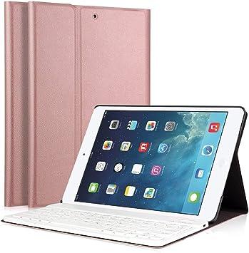 Funda para teclado de iPad, LUCKYDIY, ultradelgada, funda para soporte + teclado Bluetooth inalámbrico desmontable magnético para Apple iPad. RoseGold ...