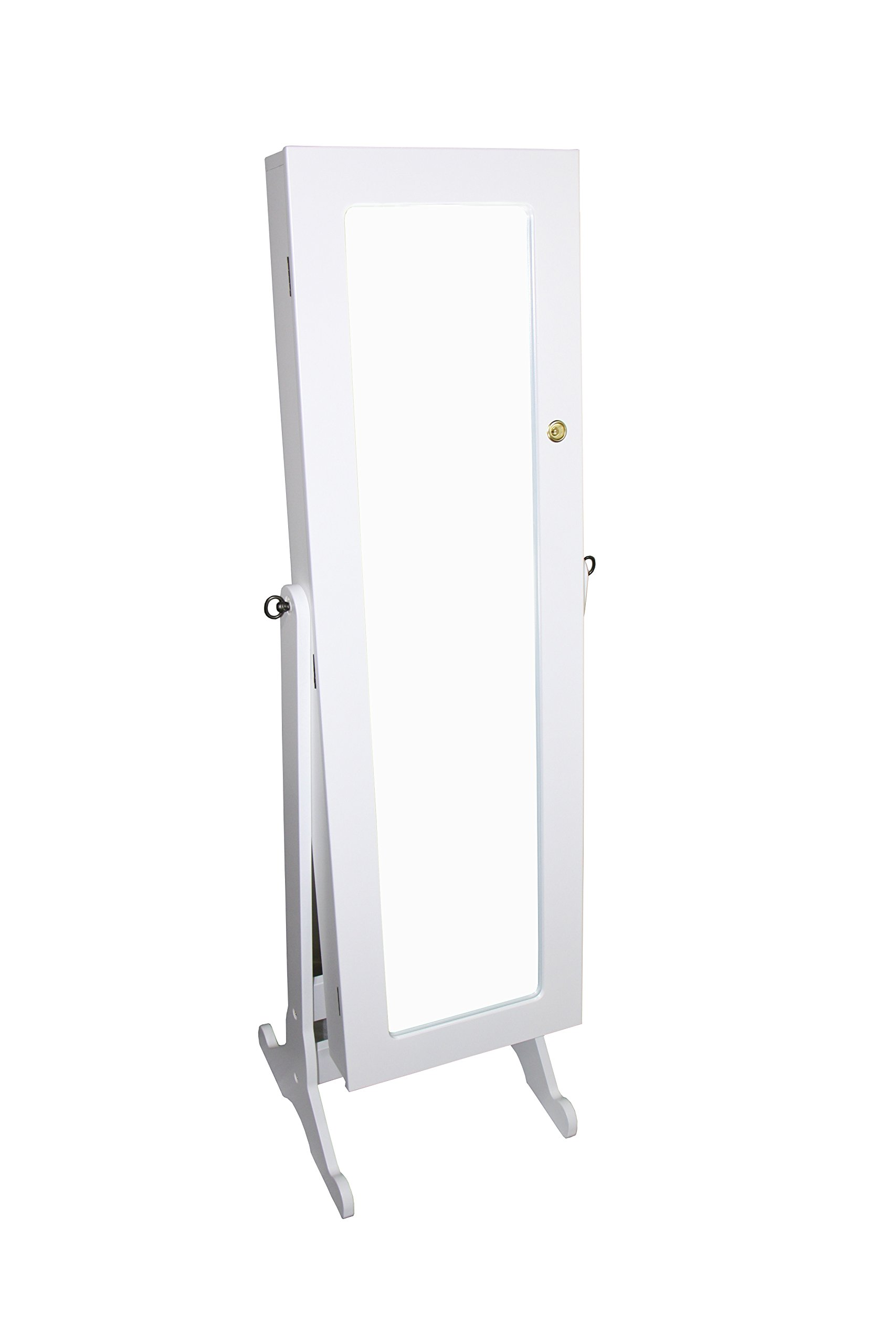 Ore International TH-6003WH Standing Mirror with Storage and Jewelry Armoire Stand, 57-Inch, White
